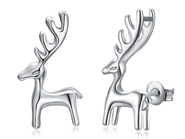 Reindeer Classic Gold Plated Stud Earrings (White Gold)