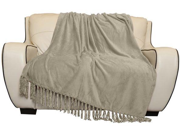 "Style Basics Silky Soft Thick Plush Fringe Throw Blanket - 50""x70"" Grey"