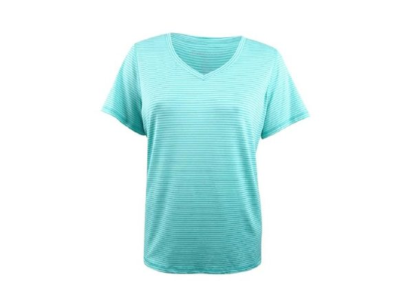 Ideology Women's Striped V-Neck T-Shirt Laguna Size 2 Extra Large