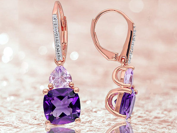 2.50CT Genuine Round Amethyst Gemstone Drop Earrings