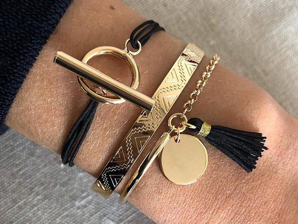 Egyptian Design Gold Ingrain Black Tassel Bracelets: Set of 3
