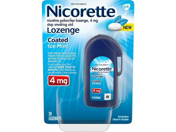 Nicorette Coated Nicotine Lozenge Stop Smoking Aid, Features a Smooth Coated Shell and a Delicious Mint Flavor Tablet, Ice Mint, 20 Count