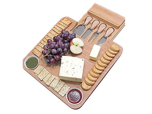 Bamboo Cheese Board & Cutlery Set + 2 Ramekins