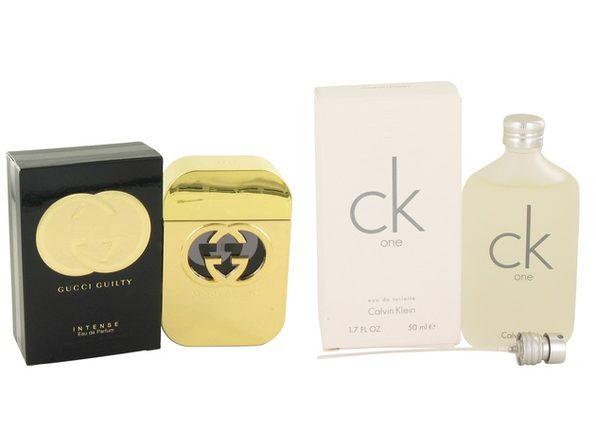 Gift set  Gucci Guilty Intense by Gucci Eau De Parfum Spray 2.5 oz And  CK ONE EDT Pour/Spray (Unisex) 1.7 oz