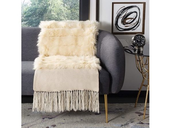 Safavieh THR750C-2080 Acrylic Alexi Faux Fur Bed Runner Throw Blanket - Cream (Like New, No Retail Box)