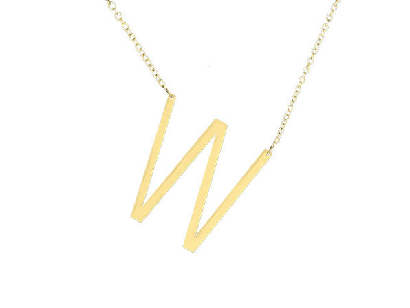 14K Gold Plated Letter Necklace - W - Product Image