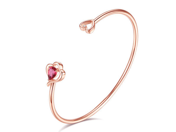 Diamond & Swarovski Crystal Rose Gold Love Bangle