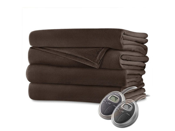 Sunbeam Velvet Plush Electric Heated Blanket King Size Walnut Brown Washable Auto Shut Off 20 Heat Settings - Walnut Brown