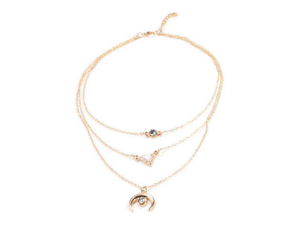 Thai Oceanic Opal 14K Rose Gold Plated Curved Pendant Necklace