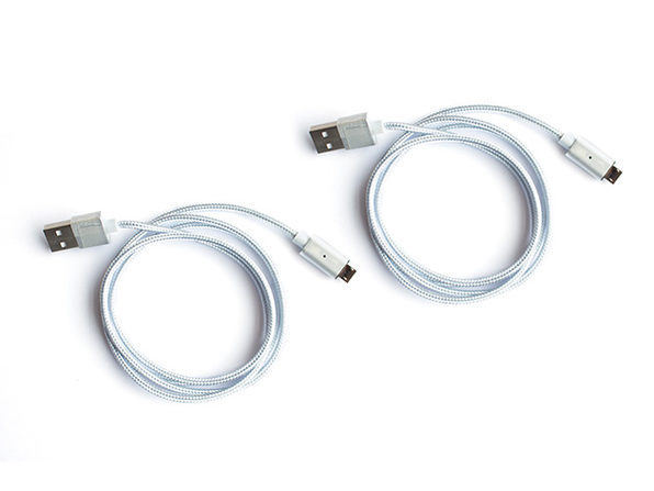 ARMOR-X Magnetic Micro USB Charging Cable: 2-Pack (Silver)