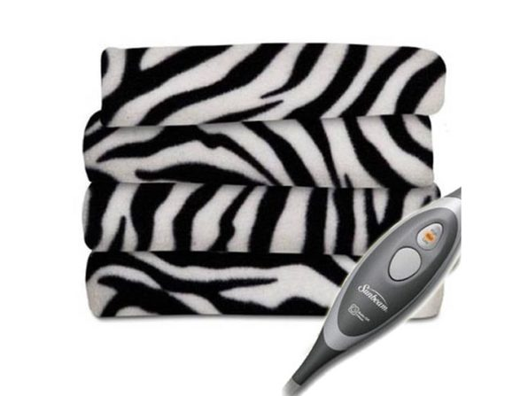 Sunbeam Electric Heated Fleece Warming Throw Blanket Zebra - Zebra