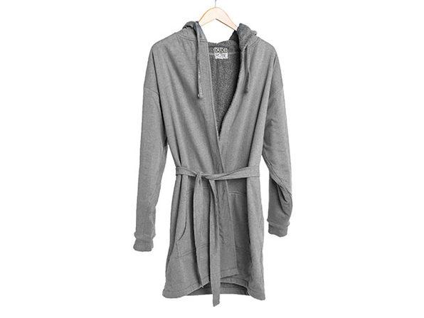 DudeRobe: Luxury Men's Hooded Bathrobe (Gray, L/XL)