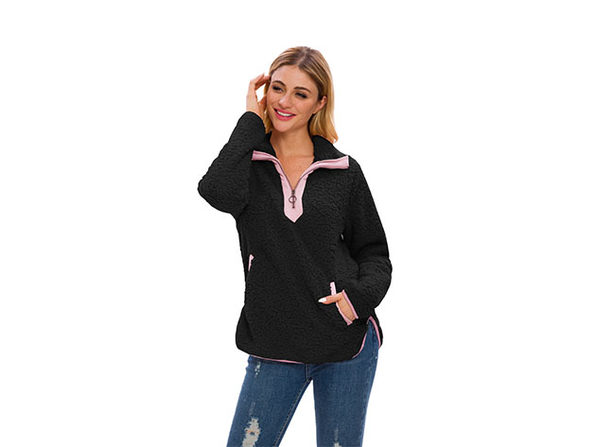 Black Loose Sherpa Pullover Stand Collar with Pockets