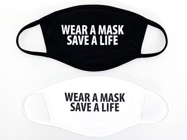 "Two-Ply ""Wear A Mask Save A Life"" Face Masks: 2-Pack"