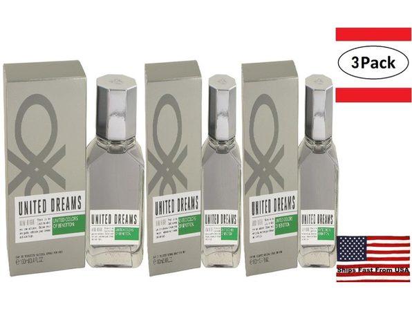 3 Pack United Dreams Aim High by Benetton Eau De Toilette Spray 3.4 oz for Men - Product Image