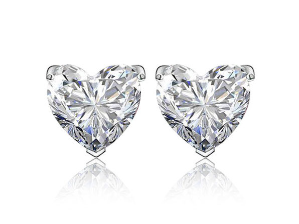 Sterling Silver Heart Shaped Studs (White)
