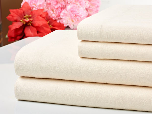 Bibb Home 100% Cotton Flannel Ivory Sheet Set (Queen)