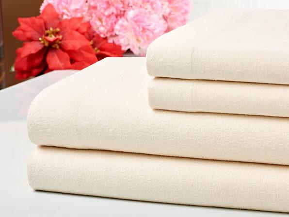 Bibb Home 100% Cotton Flannel Ivory Sheet Set (Queen)