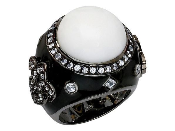 Cheryl M. Created Agate Cocktail Ring with Cubic Zirconia (CZ) (CZ) in Sterling Silver with Black Rhodium Plating - Size: 7 - Product Image