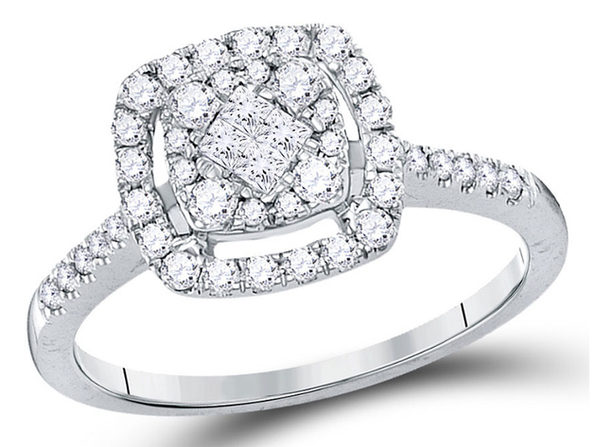 1/2 Carat (ctw H-I, I1-I2) Princess Cut Diamond Engagement Ring in 14K White Gold - 7