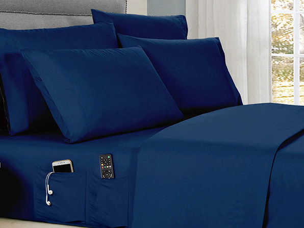 Kathy Ireland 6-piece Smart Sheet Sets w/ Pocket - Navy - Twin - Product Image