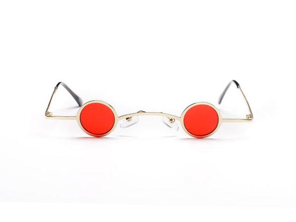 Tobias Slim Round Fashion Sunglasses (Gold/Red)