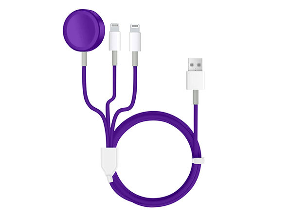 3-in-1 Apple Watch & Lightning Charger Purple - Product Image