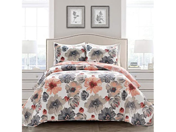 Lush Decor Polyester Quilt Floral 3 Piece Reversible, Full/Queen - Coral & Gray