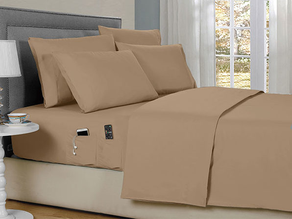 Bamboo 6 Piece Smart Pocket Sheets - Taupe -  King - Product Image