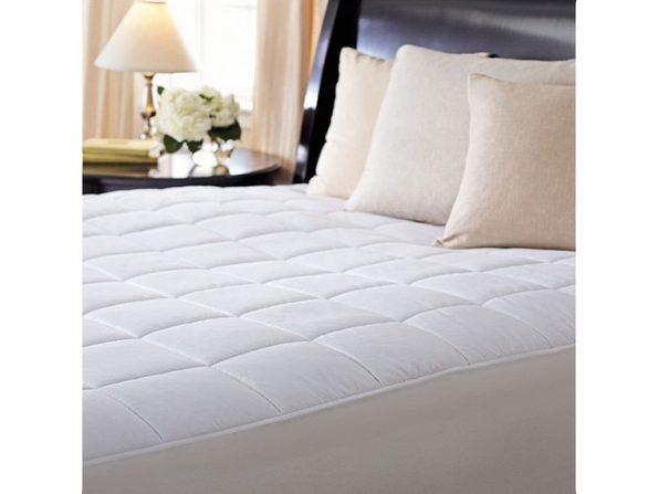 Sunbeam Premium Quilted Electric Heated Warming Mattress Pad - California King Auto Shut Off 10 Heat Settings - White