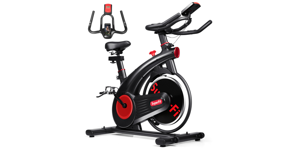A red and black stationary bike