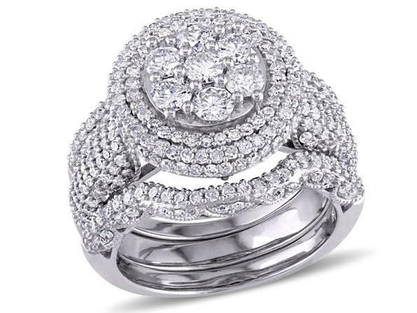Diamond Engagement Ring & Wedding Band Bridal Set 2.46 Carat (ctw Color H-I Clarity I2-I3) in 10K White Gold - 5
