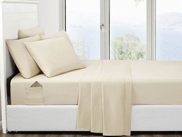 6-Piece Cream Ultra-Soft Bed Sheet Set With Side Pockets (Queen)