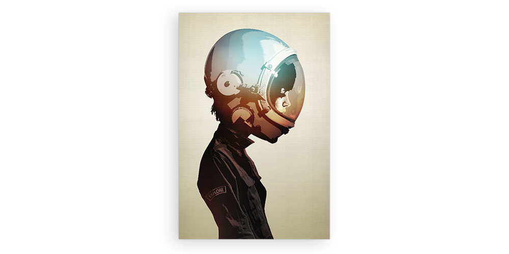 A poster of a person wearing a space helmet