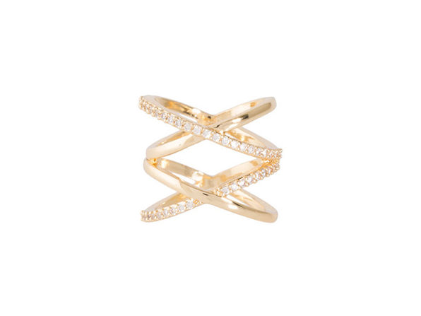 Double X Ring in Gold (Size 8)