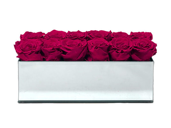 Rose Box™ Mirrored Table Centerpiece & 12 Everlasting Roses (Ruby Pink)