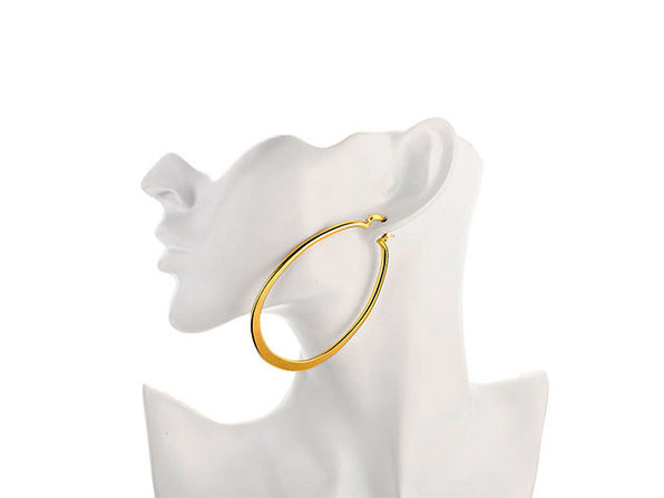 "2.7"" Flat Oval Hoop Earrings"