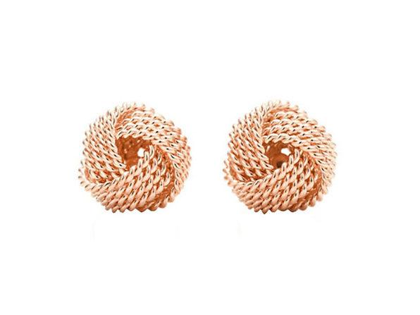 Mesh Twist Knot Stud Earrings (Rose Gold)