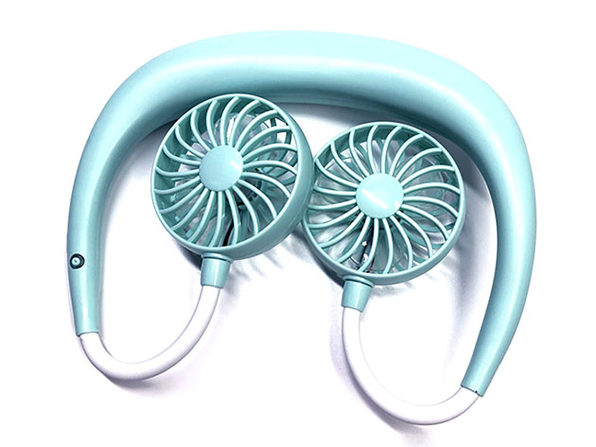 Beat The Heat Double Cool Cordless Mini Collar Fan (Teal)