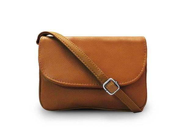 Leather Crossbody Bag (Beige)