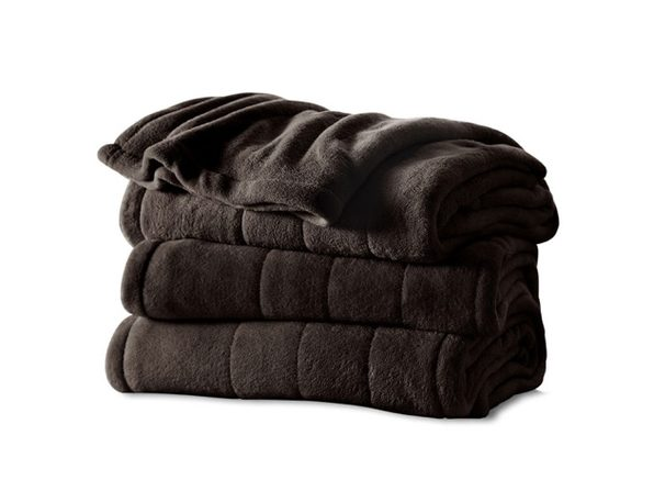 Sunbeam Channeled Microplush Electric Heated Blanket - Twin Full Queen King Size - Walnut BR11