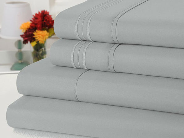 Bamboo Comfort 4 Piece Solid Sheet Sets- King- Silver - Product Image