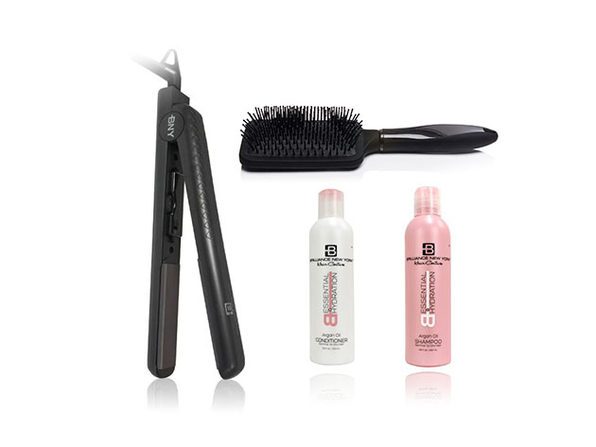 B Beautiful: Flat Iron, Paddle Brush, Shampoo & Conditioner Bundle