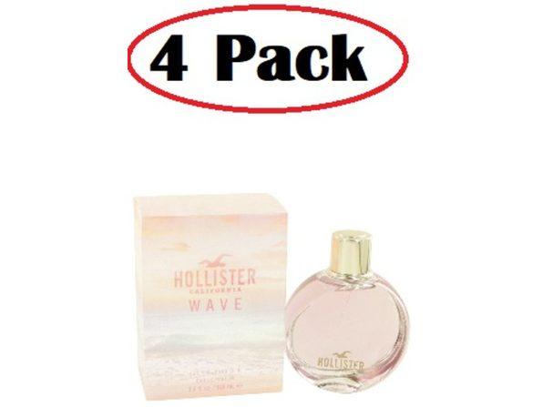 4 Pack of Hollister Wave by Hollister Eau De Parfum Spray 3.4 oz - Product Image