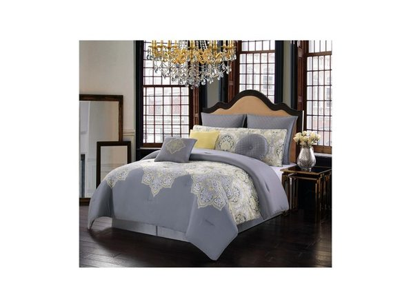 Style 212 Melania Queen 10 Piece Comforter Set Grey