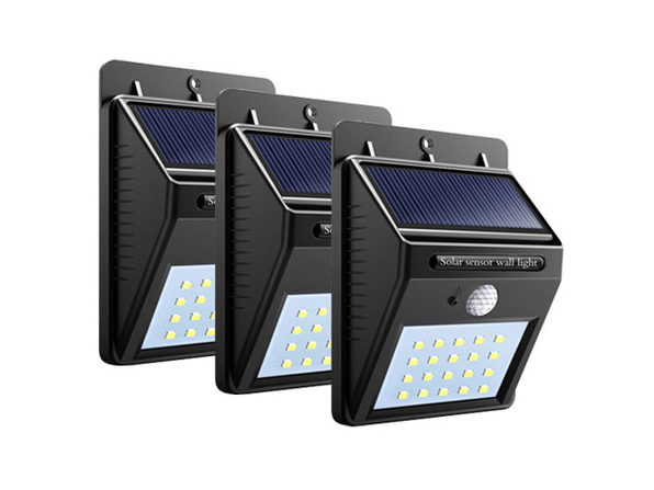 20 LED Solar-Powered Motion Sensor Security Light: 3-Pack