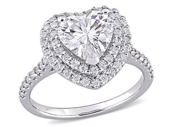 2.60 Carat (ctw) Lab Created Moissanite Heart Promise Ring in 10K White Gold - 8.5