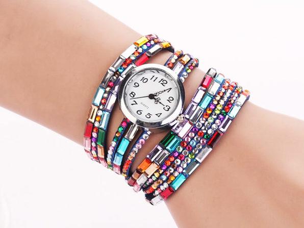 Jeweled Leather Bracelet Watch (Blue)