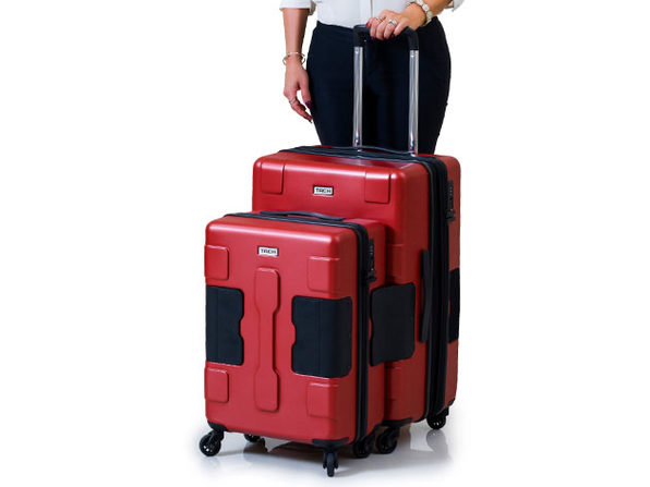 Tach Tuff Connectable Hard Luggage Set (2-Piece/Red)