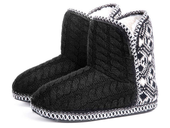 Women's Cheyenne Cable Knit Indoor Bootie Slippers (Black, Size 11-12)